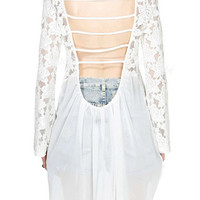 ROWME Lace Floral Hollow Asymmetric White Blouse