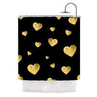 "Robin Dickinson ""Floating Hearts"" Gold Black Shower Curtain"