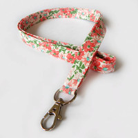 Floral Lanyard / Pink Flowers / Cute Keychain / Colorful Lanyard / Key Lanyard / ID Badge Holder / Fabric Lanyard / Peach Flowers / Pretty