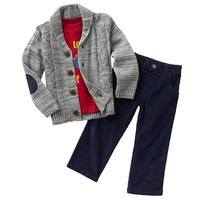 Boys Rock Marled Cable-Knit Cardigan Set - Baby
