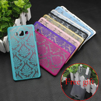 For Samsung Galaxy A3 A5 A7 S4 S5 S6 S7 EDGE Retro Damask Pattern Engraved Matte Case pc filp Cover  with+free protective film