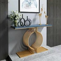 Glossy Golden Corner Console Table