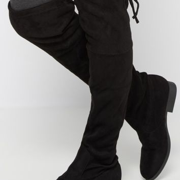 Black Mock Suede Thigh High Boot   Over the Knee Boots   rue21