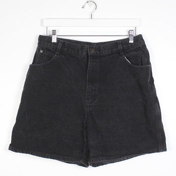 Vintage 1980s Shorts Black Denim Shorts High Waisted Shorts Gitano Denim Jean Shorts 80s Shorts Mom Shorts Mom Jeans Soft Grunge XL L 33 16