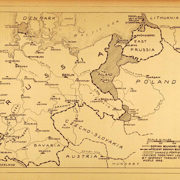 1922 Rotogravure Map Prussia Germany Post World War I Boundaries Lost Territory
