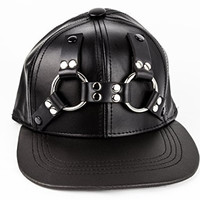 Leather Adjustable Baseball Cap Ring Harness Punk Gothic Cosplay