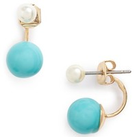 Junior Women's BP. Drop Back Earrings - Ivory/ Turquoise