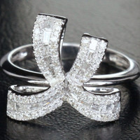 Unique .85ct VS Baguette/Round Diamond  Bowknot Engagement Ring in 14K White Gold