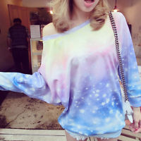 Colorful Galaxy Sweatshirts light Pullovers loose neckline Harajuku kawaii M
