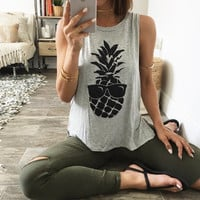 Pineapple Printed Loose Round Necked Women Tank Top a11046