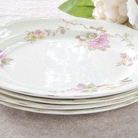 Vintage Knowles Blossom Time Dinner Plates Set of 4, Shabby Cottage Style, Edwin Knowles, Numbered W2049E1 Ca. 1940's, Replacement China
