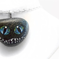 Cheshire Cat Necklace, Alice in Wonderland Jewelry, Art Pendant, Hand Painted Rock, Beach Stone, Evil Smile Necklace, Blue and Black