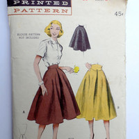 Vintage Pattern Butterick 6273 Sewing pattern 1950s full skirt Waist 24 Rockabilly High waist