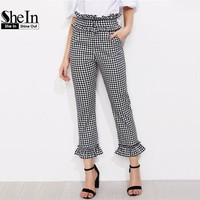 Summer Pants For Women Black And White Plaid High Waist Elegant Straight Trousers Gingham Frill Trim Pants