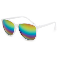 Blue Crown Rainbow Mirror Classic Sunglasses White One Size For Men 25384415001