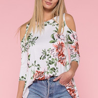 Sun Kissed Day Floral Cold Shoulder Top - Ivory