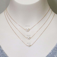Simple, Modern, White, Pearl, Gold, Silver, Rose gold, Chain, Necklace, Lovers, Friends, Mom, Sister, Wedding, Gift