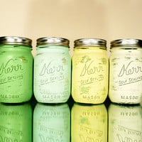 Lemongrass - Dorm, Office and Home Decor SALE Painted and Distressed Shabby Chic Mason Jar Vases - Pencil Holder