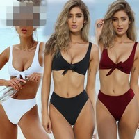 4 Colors Women High Rise Bikinis Cross Bandage Swimsuit Bandage Swimwear Sexy Beach Swimsuit Brazilian Bathing Suit CCA8554 10pcs