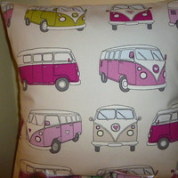 Cushion Cover in Quirky Volkswagen Camper Van VW Camper Van Retro Shabby Chic Red Blue White Flowers Dotty  Stripe