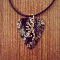 Mossy oak camo with silver deer buckmark charm guitar pick on black necklace jewelry for country southern hunting farm girl