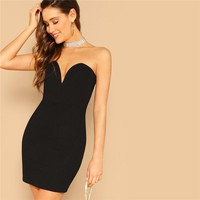 Lady Sexy Sweetheart V Neckline Black Bodycon Dress Women Sleeveless Solid Slim High Waist Party Dress Mini Dress