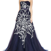 Carolina Herrera Strapless Floral-Embroidered Tulle Ball Gown, Navy
