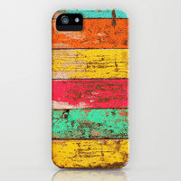 Vintage Colored Wood 3 iPhone & iPod Case by Maximilian San