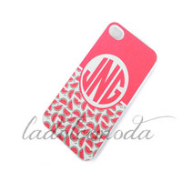 MONOGRAM PHONE case summer 2013 watermelon pink initials personalized hard plastic iPhone 4 iPhone 5 samsung galaxy s3