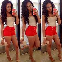 Nude and Red Casual Romper