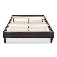 Queen size Padded Upholstered Faux Leather Platform Bed Frame in Espresso