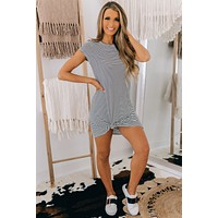 Anywhere But Here Striped T-Shirt Dress (Black/Ivory)