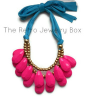 ready to ship Pink FuschiaTear Drop necklace Antropologie inspired bib statement necklace Christmas gift