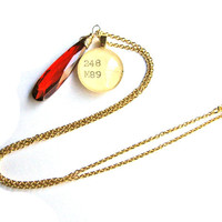22K Gold and Red Orange Crystal Dewey Decimal Vintage Card Catalog OOAK Necklace Faceted Drop by The Written Nerd