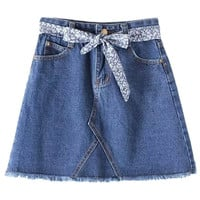 Dark Blue Tie-Waist Bow Fringe Denim Skirt