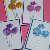 Handmade Note Cards, Mother's Day Gift Set of 4, Stamped, Embossed, Artsy Watercolor Poppies, Blank Inside, A2