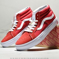 Vans Fashion New High Top Women Men Running Sports Leisure Shoes Red