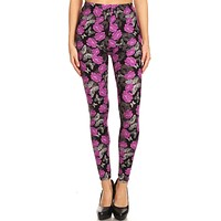 Women's 3X 5X Purple Rose Butterfly Pattern Printed Leggings
