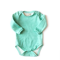 Organic Long-Sleeve Bodysuit Teal Linen