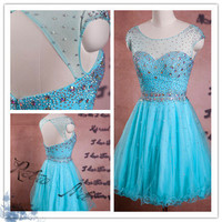 Beaded cocktail dresses/short party dress/bridesmaid dresses/prom dresses/evening dress/prom dress/short prom dress/short evening dress