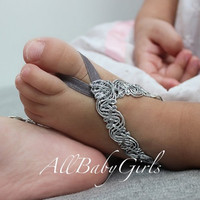 Stunning Silver Baby Barefoot Sandals
