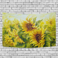 Sunny Nature Art Landscape Yellow Sunflower Tapestry Wall Hanging Oil Painting Wall Art Home Decor