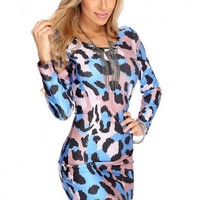 Royal Blue Printed Design Cut Out Sexy Dress