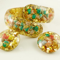 Gold Confetti and Sea Shells Lucite Clamper and Earring Set