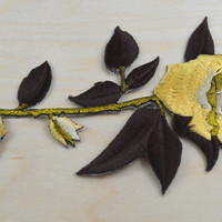 2 Brown and Mustard Long Stem Rose Patches/ Applique with Iron-on Backing