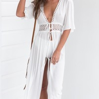 White Deep V Neck Half Sleeve High Slit Maxi Beach Dress Cove Up