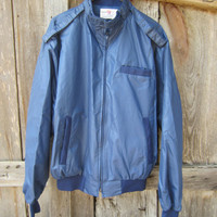 80s Navy Members Only Style Jacket for Texas Beef Expo Champion, L // Men's Vintage Jacket