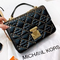 MK Michael Kors New fashion rivets leather shoulder bag crossbody bag Black