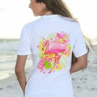 Sweet Southern Summer Tee-Flamingo