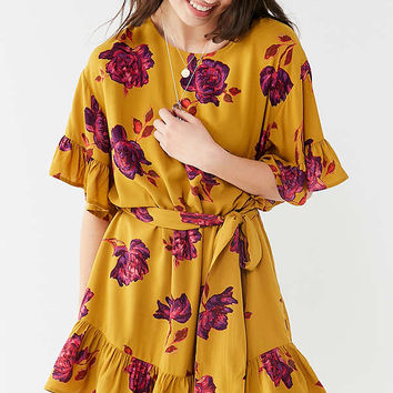 UO Suddenly Spring Ruffle Tie Dress   Urban Outfitters